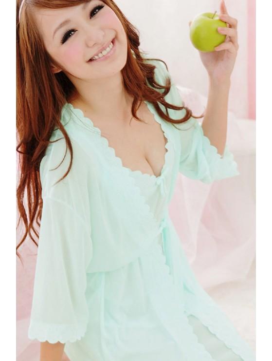 Bô đôi đồ ngủ và áo choàng DN147 màu xanh