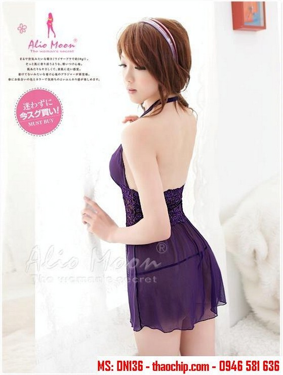 Đầm ngủ tím DN136
