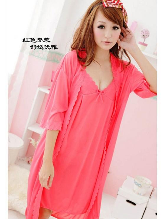 Bô đôi đồ ngủ và áo choàng DN147- màu đỏ dưa hấu