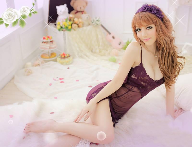Đầm ngủ sexy màu tím DN258