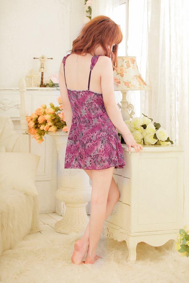 Đầm ngủ hoa dễ tím thương DN268