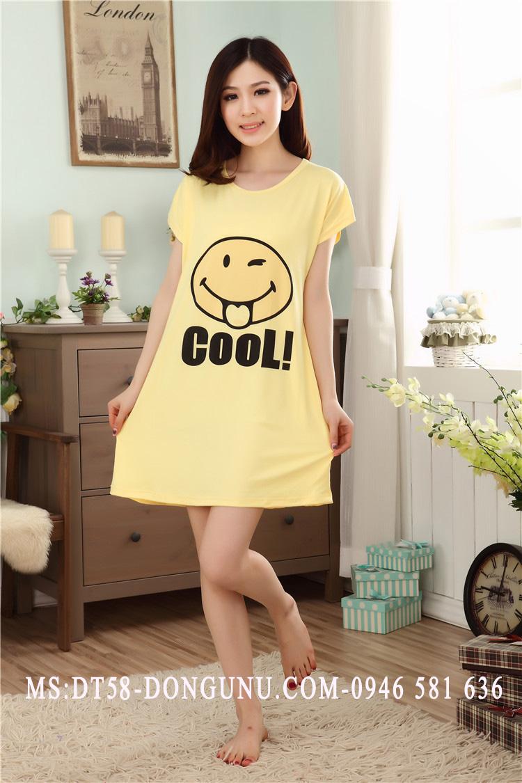 Đầm ngủ DT58 mặt cười màu vàng