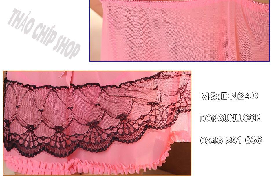 Đầm ngủ sexy DN240 màu hồng phối ren