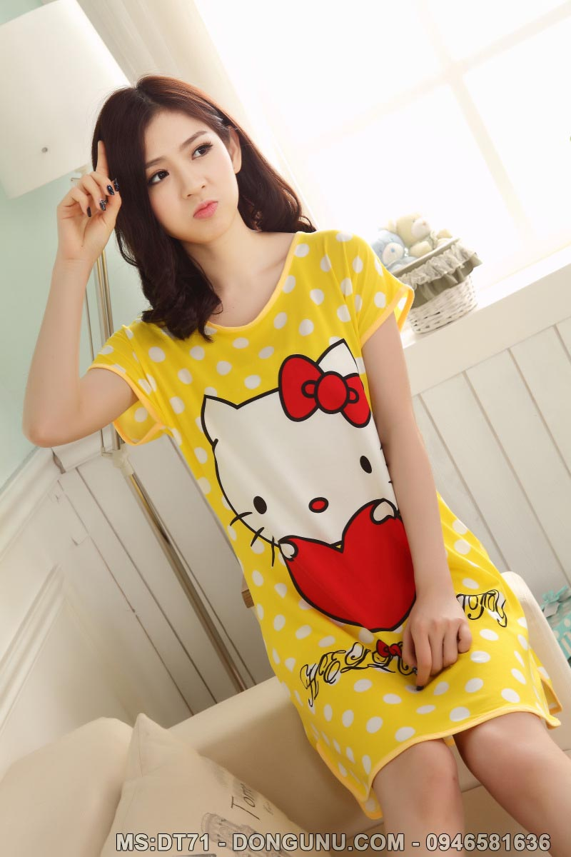 Váy ngủ hoạt hình mèo kitty vàng DT71