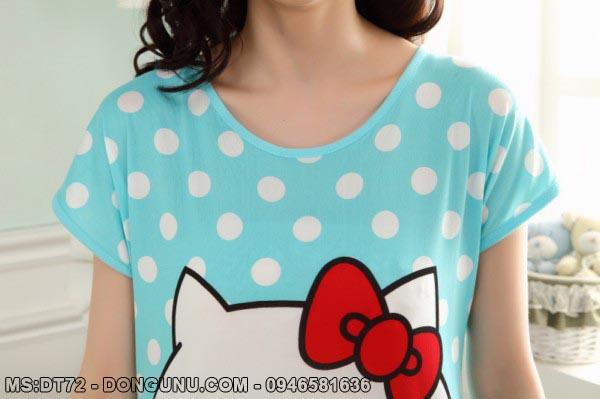 Váy ngủ hoạt hình mèo kitty xanh DT72