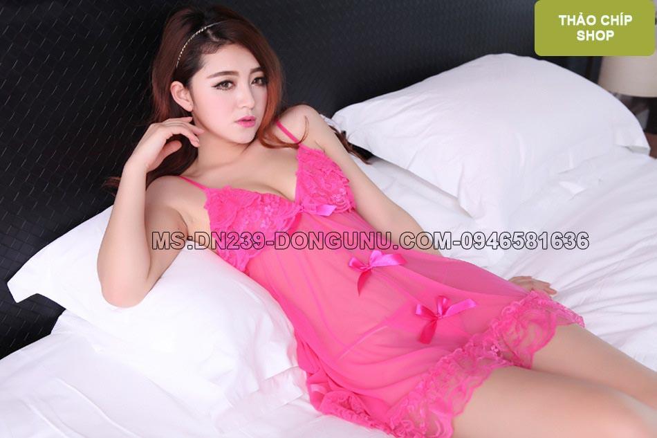 Đầm ngủ sexy nơ hồng DN239