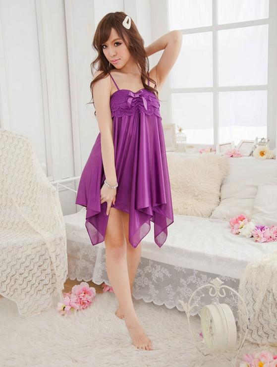 Đầm ngủ dễ thương DN149 - tím hoa cà