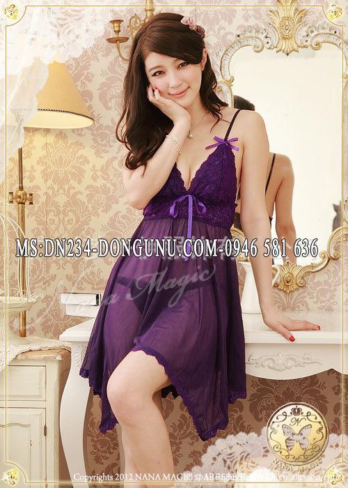 Đồ ngủ sexy DN234 màu tím dáng xòe điệu đà