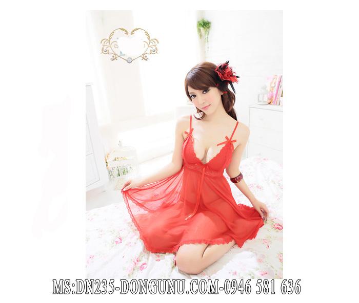 Đầm ngủ DN235 màu đỏ dáng xòe