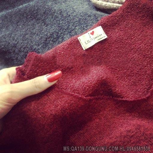 Áo len long cừu cổ chữ V QA137-xám đậm