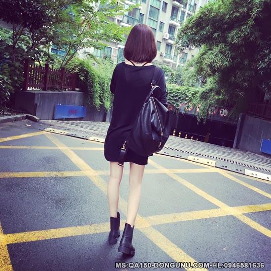 Áo len mỏng dáng dài QA150-đen