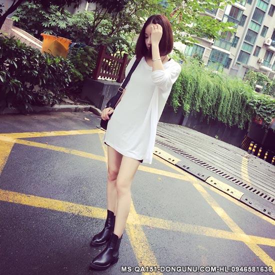 Áo len mỏng dáng dài QA151-trắng