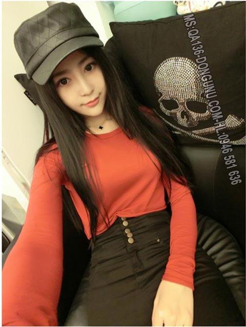Áo croptop dài tay body QA136-đỏ