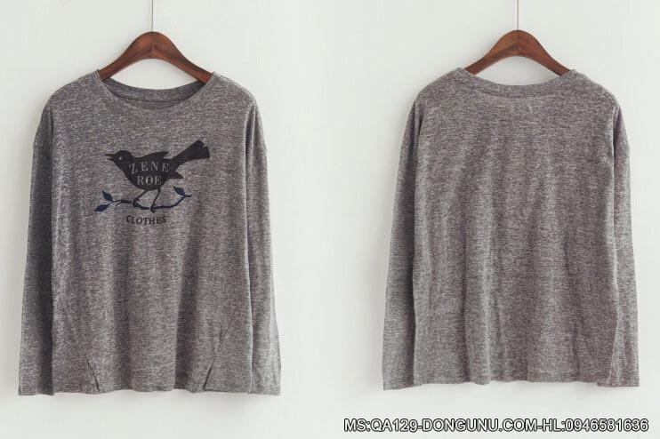 Áo thun dài tay mỏng hình chim cúc cu QA129