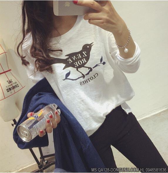 Áo thun dài tay mỏng hình chim cúc cu QA128