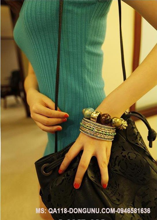 Đầm thun body QA118-xanh lam