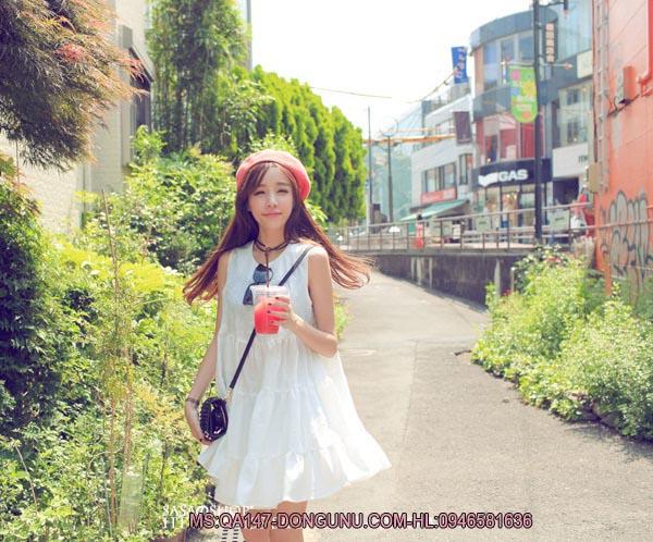 Đầm thêu hoa thái QA147-trắng