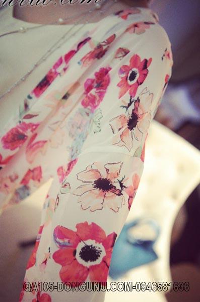 Áo khoác voan dài tay cardidan QA105-hoa đỏ