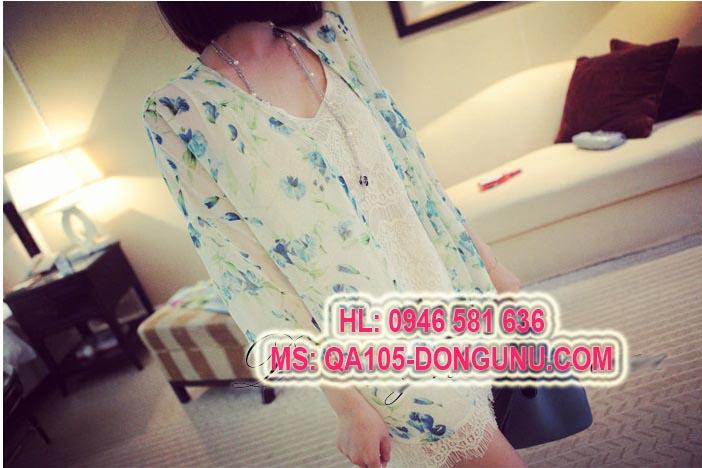 Áo khoác voan dài tay cardidan QA105-hoa xanh