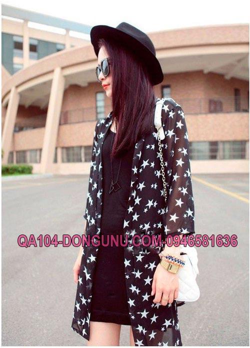 Áo khoác voan dài tay cardidan QA104-đen