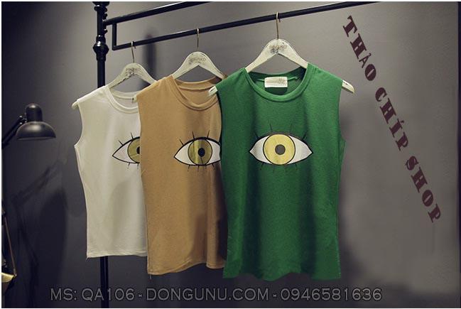 Áo thun Qa106-xanh con mắt xinh