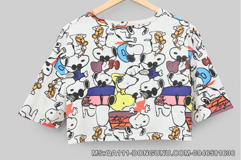 Áo croptop QA111 chú cho snoopy trắng