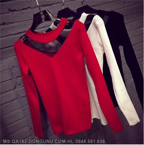 Áo len body cổ phối lưới QA162-đỏ