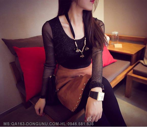 Áo nhũ đen QA163